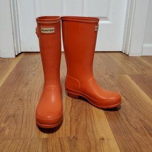 Orange kids Hunter rain boots
